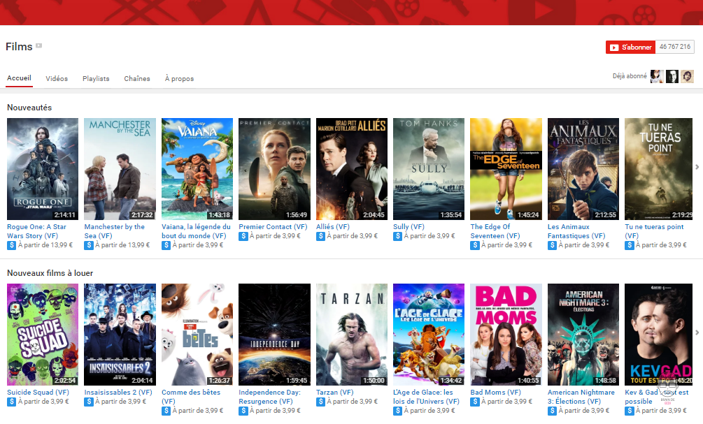 films payants et gratuits sur Youtube