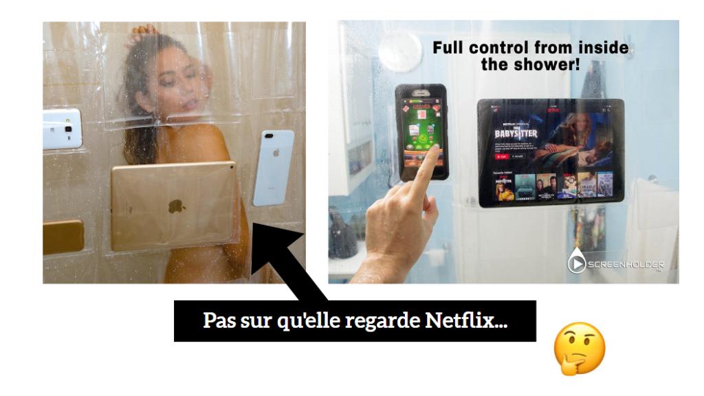 rideau de douche pour smartphone et tablette