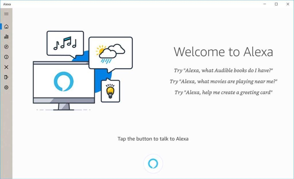 Amazon Alexa Windows 10 interface