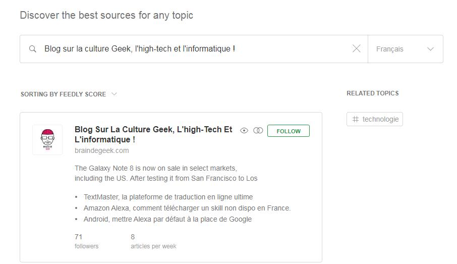 Feedly, connaitre les nouveaux articles de vos sites préférés. 1