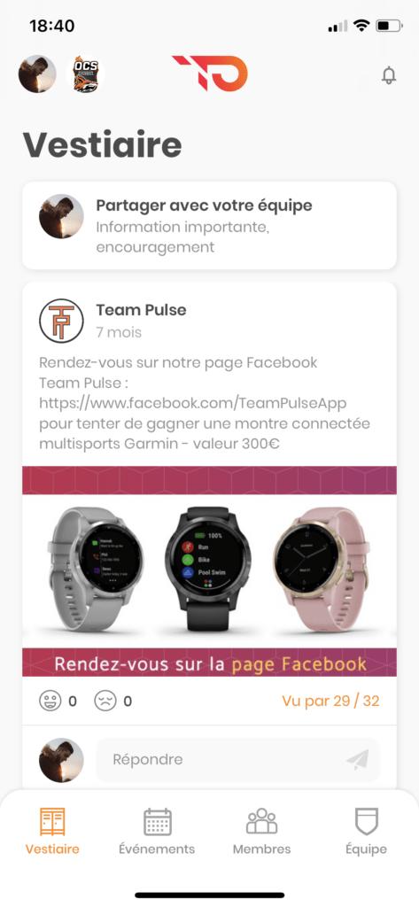 Fil d'actualité de l'équipe sur Team Pulse